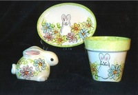 Heidel's Handpainted Ceraminc Platter, Bunny and Planter with Spring Motif