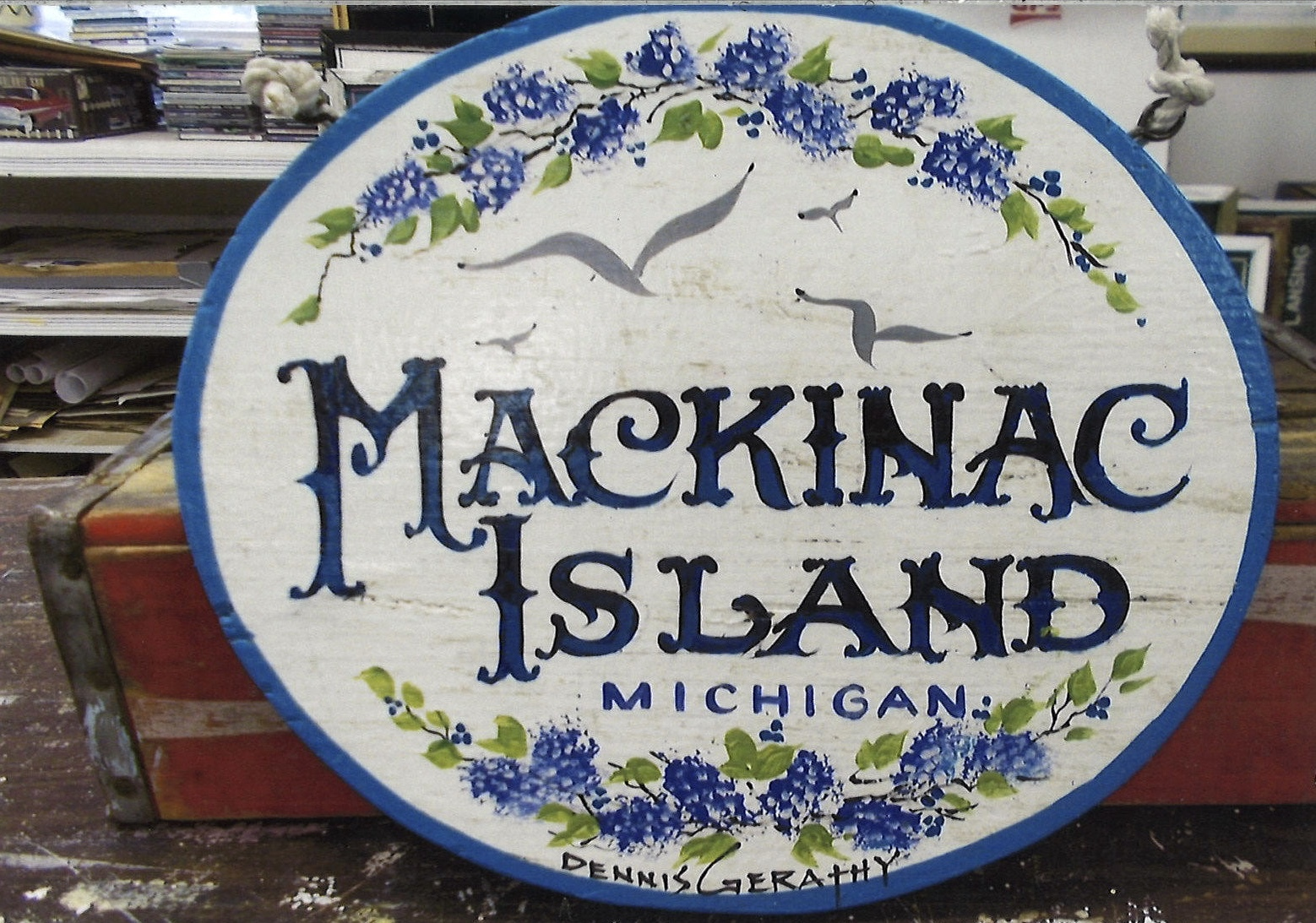 Gerathy's Hand Painted Wood Mackinac Island Sign Round with Lilacs