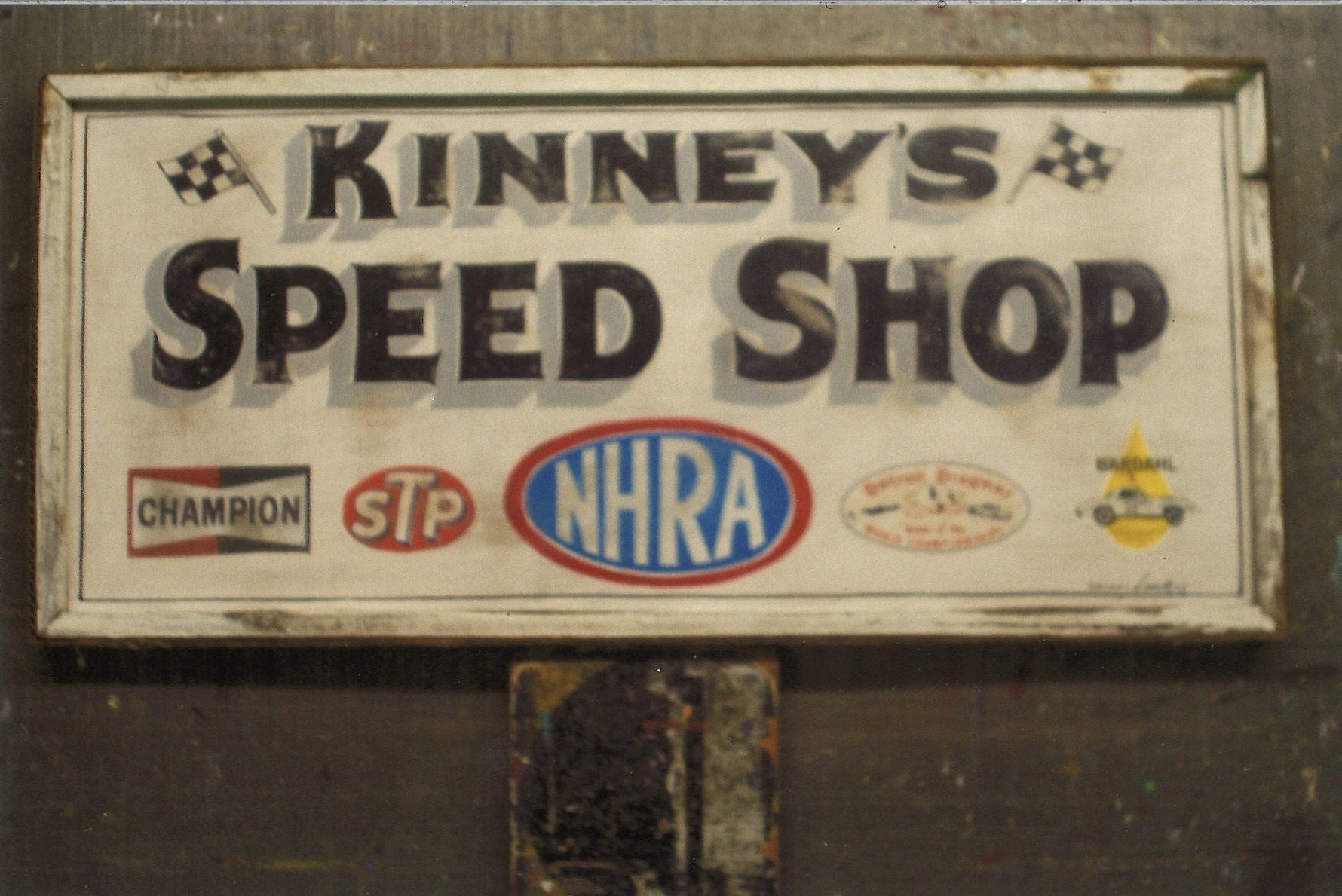 Gerathy's Hand Painted Wood Kinney's Speed Shop Sign