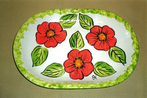 Heidel's Handpainted Ceramic Platter with Bold Red Floral Pattern