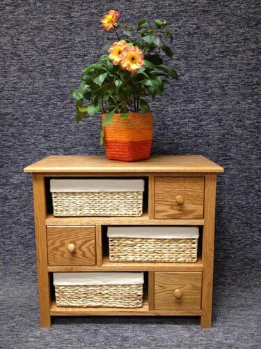 DeWeerd's 3 drawer 3 basket cabinet-baskets included-other stain colors available