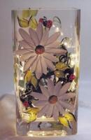 Higgins, Daisy with Ladybugs Square Vase Light, Hand Painted with string of lights.