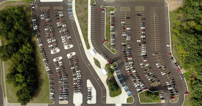 Saline High School West Parking Lot Drone Picture