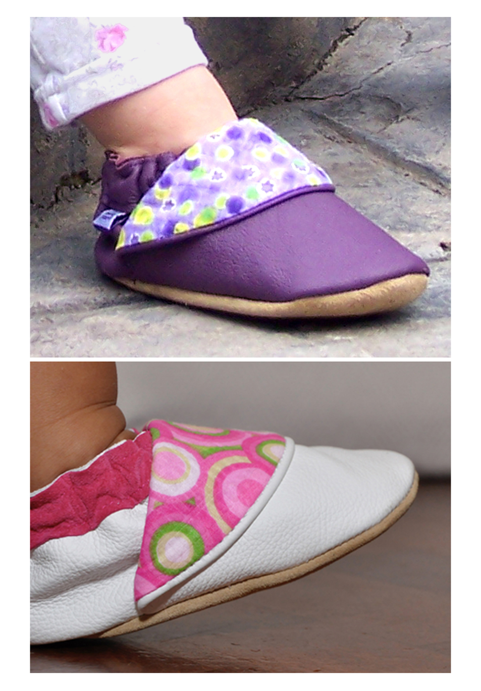 Boyer's Leather Baby Mocs, Purple with Contrast Flap and White with Pink Flap