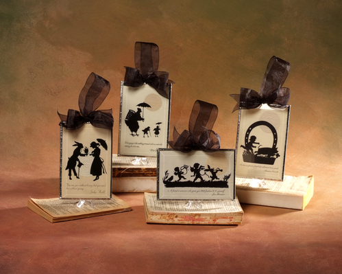Blough's Beveled glass, vintage silhouette post cards, using silhouette cutting and stained glass skills
