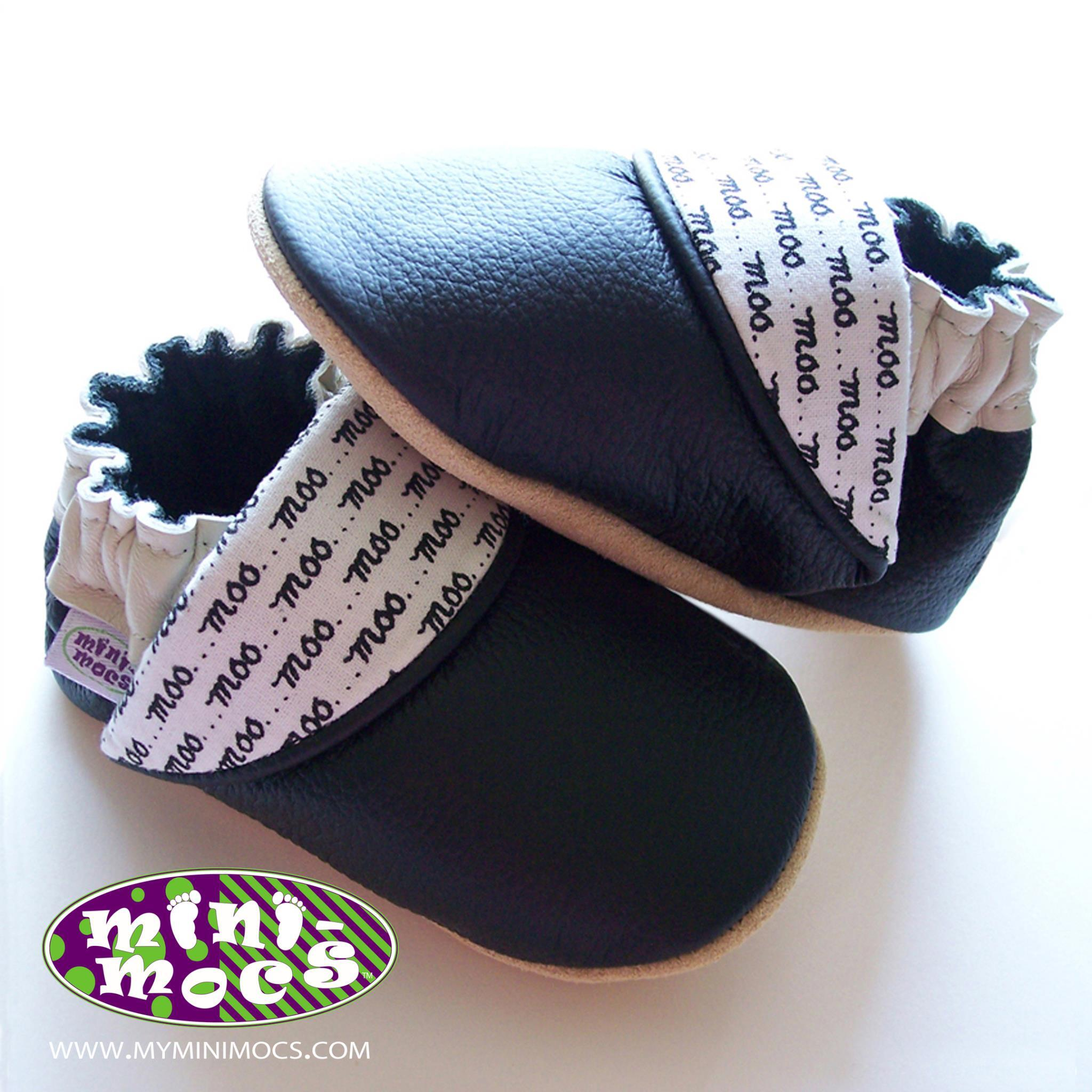 Boyer's Mini Mocs; Navy with Contrast Flap with the word Moo in a Pattern