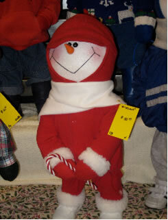 Brummeler's Stuffed Snowperson wearing Red Fur-lined Winter Suit