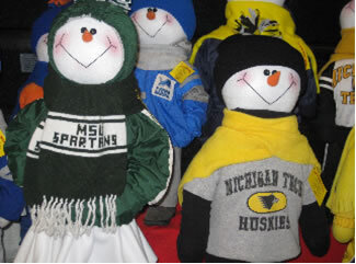 Brummeler's Stuffed Snowpeople Wearing College Logo Wear