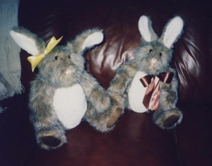 Conrad's small rabbits using fur fabric, safety lock eyes and nose, stuffed with polyester stuffing.