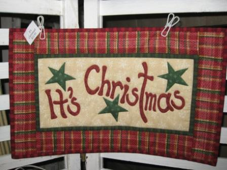 "Cunningham's Quilted ""It's Christmas"" Wall Hanging"