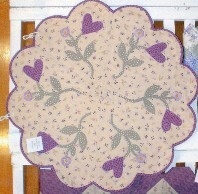 Cunningham's Scalloped Edged Quilted Doily with Lavender Hearts