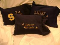 Dodge's Fleece Pillows, Saline Hornets Embroidered