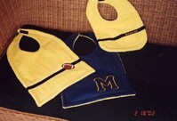 Dodge's Reversible Bibs with Michigan Block M Embroidered and Yellow Terry Cloth