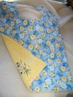 Dodge's Reversible Bib, Yellow Terry Cloth and Light Blue Floral Fabric