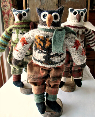 Revill's Owl dolls hand and machine sewn using cotton and wool fabrics and yarns.