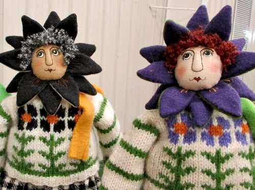 Revill's Flower dolls hand and machine sewn using cotton and wool fabrics and yarns.