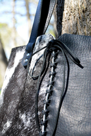 Geiger handmade Hair on Cowhide Leather tote, with decorative hand stitching.