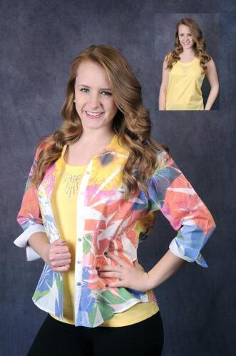 Kelly embellished yellow tank with colorful embellished button down shirt.