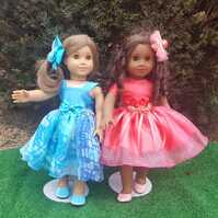 "Ehrenfeld's 18"" Doll Clothing, Formal Dresses with Hair Bows"