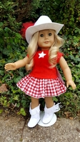 "Ehrenfeld's 18"" Doll Cowboy Outfit with Red Checked Skirt, Red Shirt, White Boots and White Cowboy Hat"
