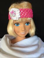 Dumler's Bright Pink Stretchy Headband with White Ribbon