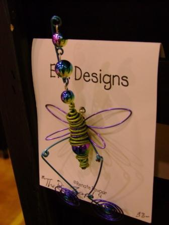 Favour's Wire and Bead Jewlery, Insect Pin; Green and Purple
