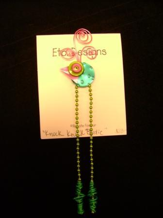 Favour's Metal and Wire Jewelry; Green Insect with Pink Eyes and Long Chain Legs