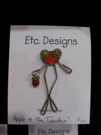Favour's Wire & Metal Jewelry, Frog Pin, Carrying Apple for the Teacher