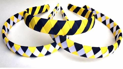 Feldkamp's Blue White and Yellow Grosgrain Ribbon Headbands