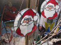 Gusmano's Stained Glass Santa Suncatchers