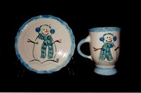 Heidel's Handpainted Ceramic Bowl and Mug with Snowman Theme