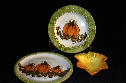 Heidel's Handpainted Ceramic Plates with Pumpkin Theme