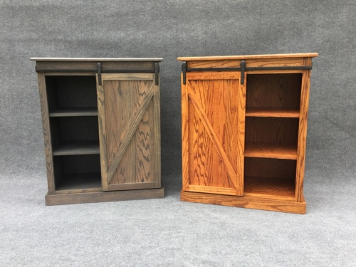 DeWeerd's barn door cabinet with 3 shelves on each side-other stain colors available