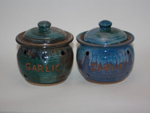 Gertig's Garlic jars hand-thrown and altered by Nancy