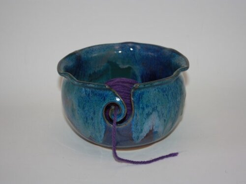Gertig's Yarn bowl. Hand-thrown with stoneware clay and altered.