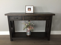 DeWeerd's sofa table with 3 drawers and X between the legs-other stain colors available