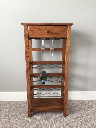 DeWeerd's wine rack-holds up to 12 glasses and 12 bottles-other stain colors available