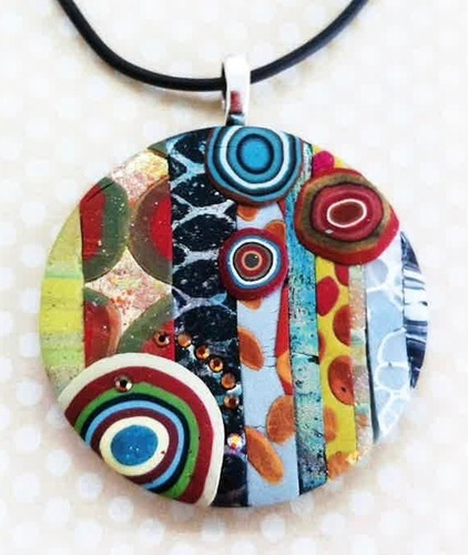Arden's Abstract Clay Jewelry Round Pendant on Black Rope