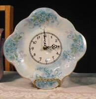 Meyer Handpainted China Clock with Floral
