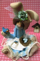 Renner Clay Bunny with Bird Nest and Birds