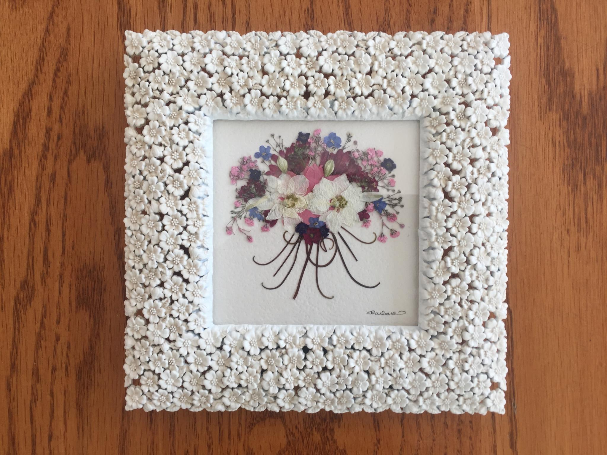 Musolf/Saalfeld, framed pressed flower, fern, leaf bouquet picture.