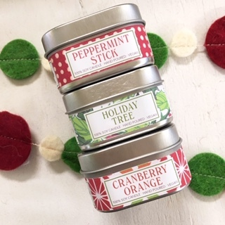 Green Daffodil's handmade vegan soy candles Holiday scent collection.