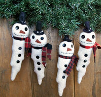 Revill's Snow Man ornaments hand and machine sewn using wool fabrics and wire.