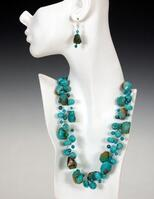 Potts' TURQUOISE TRIPLE Necklace & Earrings