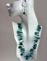 TURQUOISE TRIPLE NECKLACE With EARRINGS