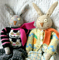 Revill's Rabbit Dolls hand and machine sewn using cotton and wool fabrics and yarns.